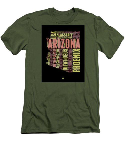 Arizona Word Cloud Map 1 Men's T-Shirt (Athletic Fit)