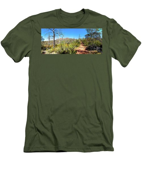 Men's T-Shirt (Slim Fit) featuring the photograph Arkaroo Rock Hiking Trail.wilpena Pound by Bill Robinson
