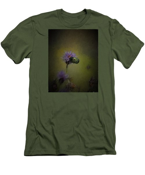 Men's T-Shirt (Slim Fit) featuring the photograph Artistic Two Beetles On A Thistle Flower by Leif Sohlman