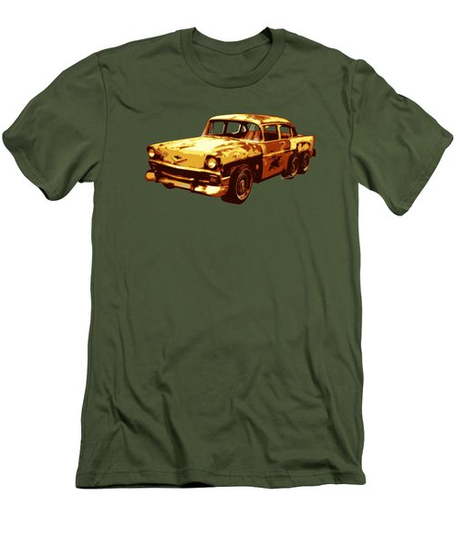 Roadrunner The Snake And The 56 Chevy Rat Rod Men's T-Shirt (Slim Fit) by Chas Sinklier