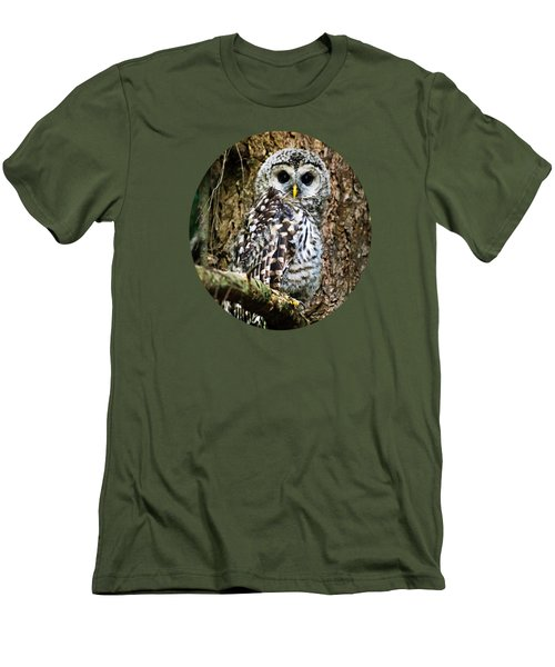 Men's T-Shirt (Athletic Fit) featuring the photograph Barred Owlet by Christina Rollo