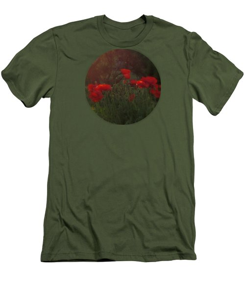 Sunset In The Poppy Garden Men's T-Shirt (Slim Fit) by Mary Wolf