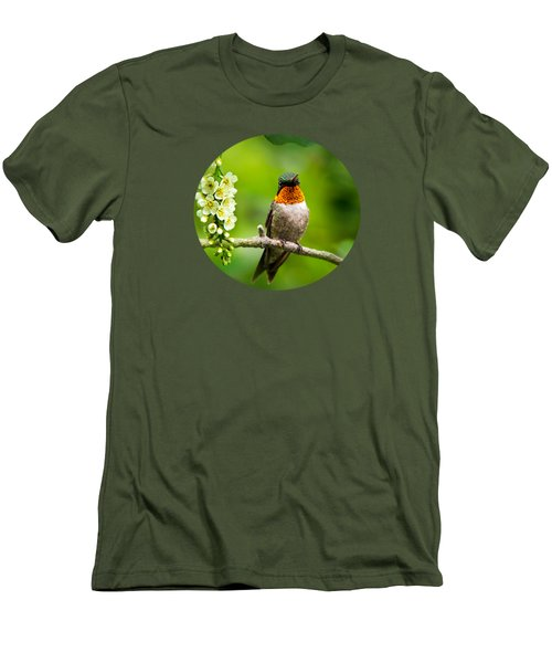 Male Ruby-throated Hummingbird With Showy Gorget Men's T-Shirt (Slim Fit) by Christina Rollo