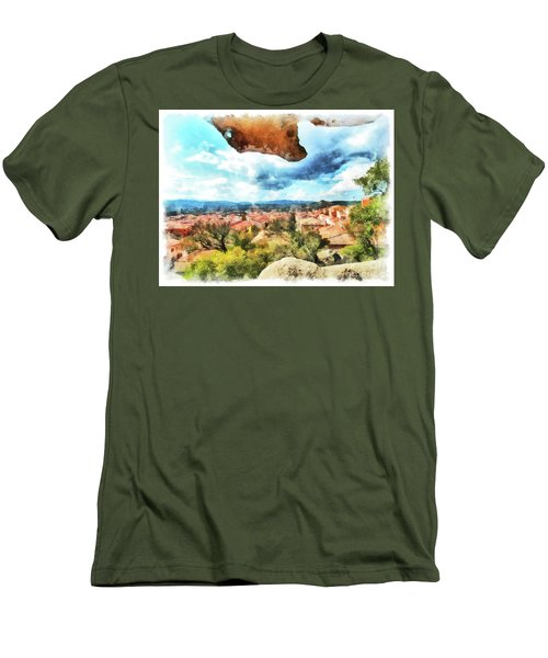 Arzachena Landscape With Rock Snd Clouds Men's T-Shirt (Athletic Fit)