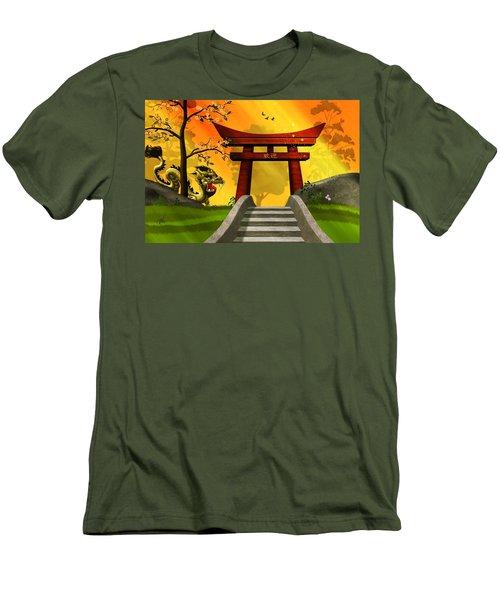 Asian Art Chinese Landscape  Men's T-Shirt (Slim Fit) by John Wills