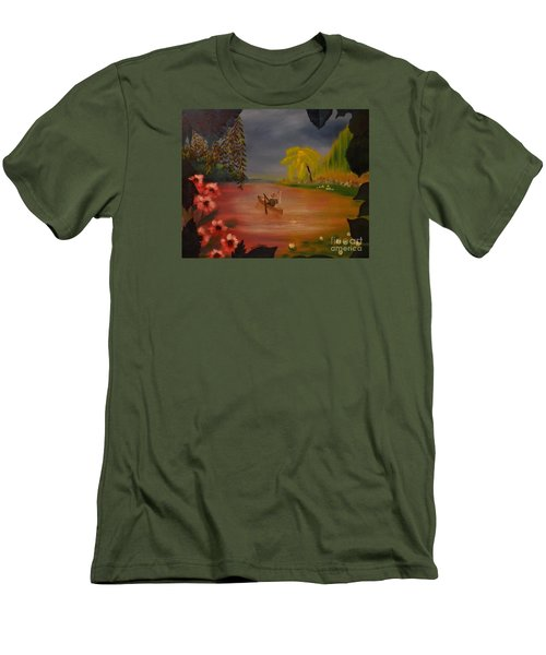 Men's T-Shirt (Slim Fit) featuring the painting Asian Lillies by Denise Tomasura