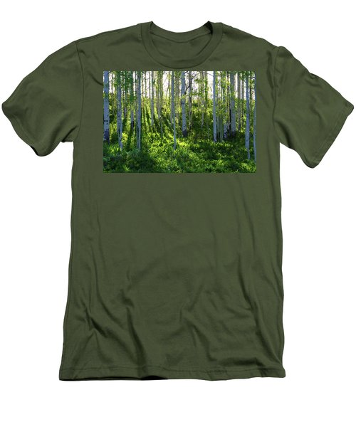 Men's T-Shirt (Slim Fit) featuring the photograph Aspen Morning 1 by Marie Leslie