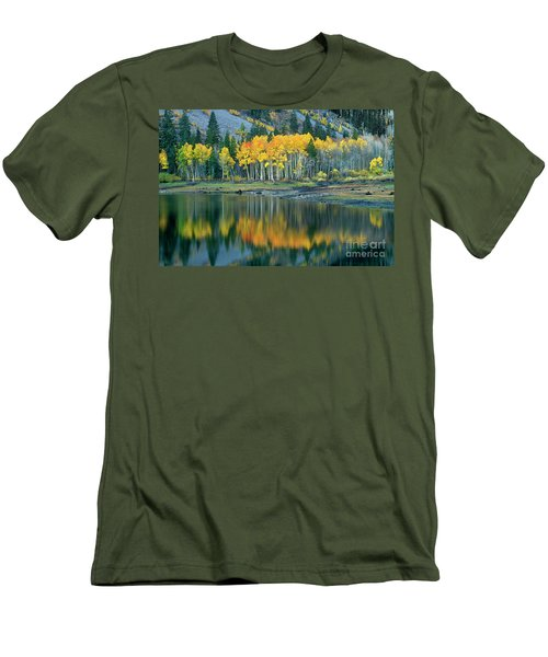 Aspens In Fall Color Along Lundy Lake Eastern Sierras California Men's T-Shirt (Slim Fit) by Dave Welling