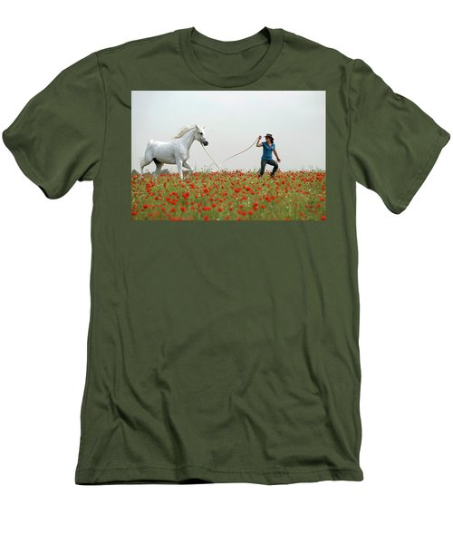 At The Poppies' Field... 2 Men's T-Shirt (Slim Fit) by Dubi Roman