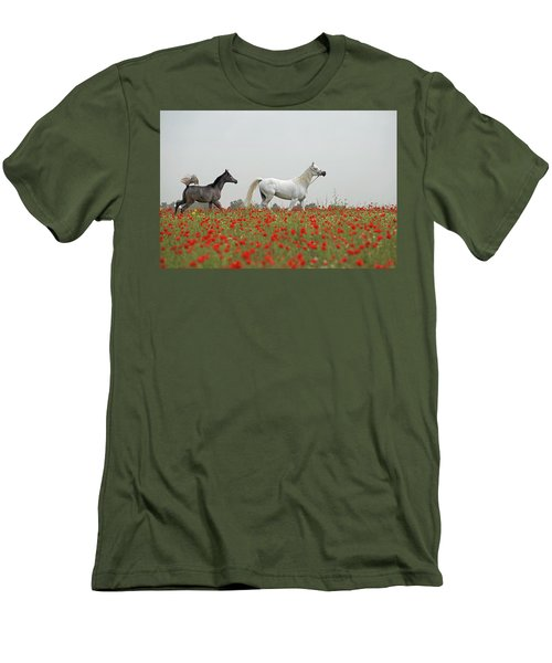 At The Poppies' Field... Men's T-Shirt (Slim Fit) by Dubi Roman