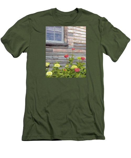 Men's T-Shirt (Slim Fit) featuring the painting At The Shelburne by Lynne Reichhart