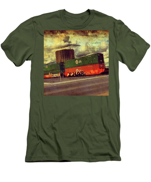 At The Train Crossing. Arizona  Men's T-Shirt (Athletic Fit)