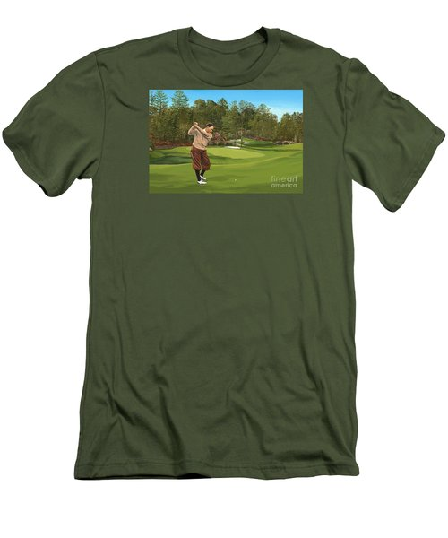 Augusta 11 And 12th Hole Bobbyjones Men's T-Shirt (Slim Fit) by Tim Gilliland