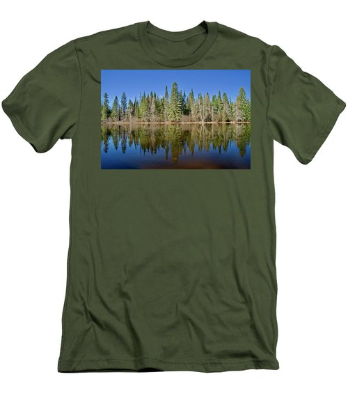 Men's T-Shirt (Slim Fit) featuring the photograph Ausable Reflections 1768 by Michael Peychich