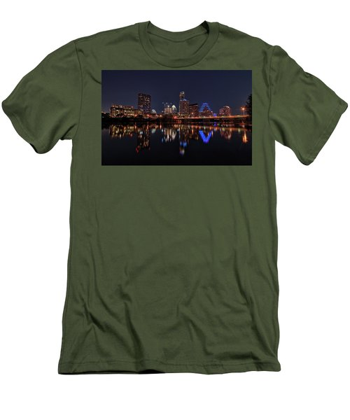 Austin Skyline At Night Men's T-Shirt (Slim Fit) by Todd Aaron
