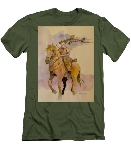 Men's T-Shirt (Slim Fit) featuring the painting Australian Light Horse Regiment. by Ray Agius