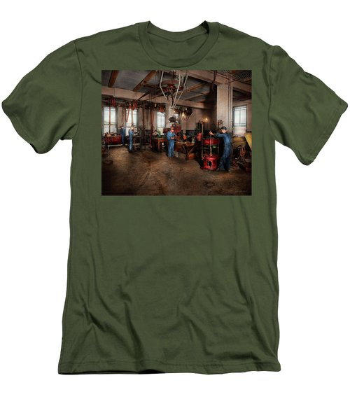 Men's T-Shirt (Athletic Fit) featuring the photograph Autobody - The Bodyshop 1916 by Mike Savad