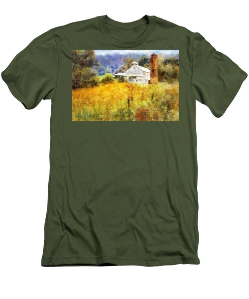 Men's T-Shirt (Slim Fit) featuring the digital art Autumn Barn In The Morning by Francesa Miller