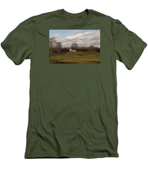 Men's T-Shirt (Slim Fit) featuring the photograph Autumn Barn On The Meadow by Margie Avellino