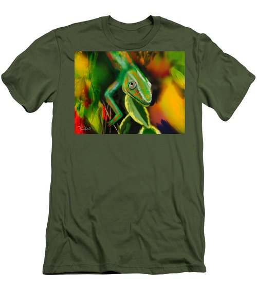 Autumn Chameleon Men's T-Shirt (Slim Fit) by Diana Riukas