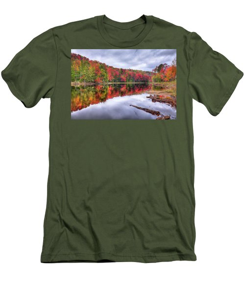 Men's T-Shirt (Slim Fit) featuring the photograph Autumn Color At The Pond by David Patterson