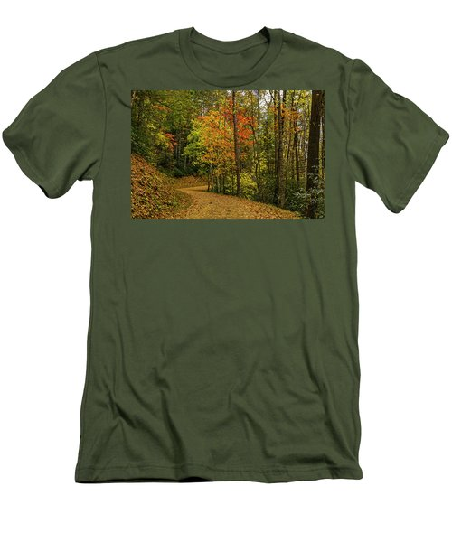 Autumn Forest Road. Men's T-Shirt (Athletic Fit)