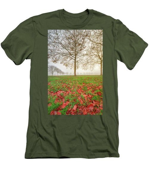 Men's T-Shirt (Athletic Fit) featuring the photograph Autumn Leaves Near To Far Super High Resolution by William Lee