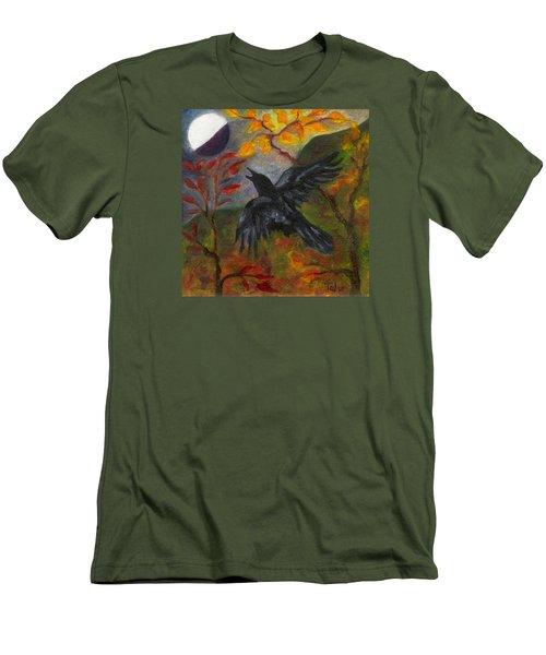 Autumn Moon Raven Men's T-Shirt (Athletic Fit)