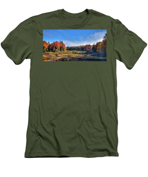 Men's T-Shirt (Slim Fit) featuring the photograph Autumn Panorama At The Green Bridge by David Patterson