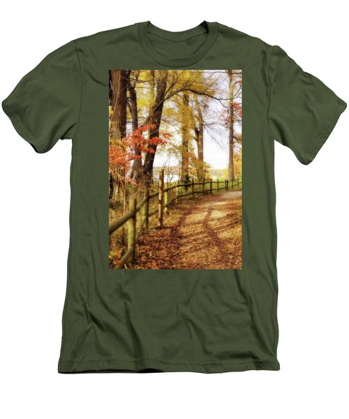Men's T-Shirt (Slim Fit) featuring the photograph Autumn Pathway by Jean Goodwin Brooks