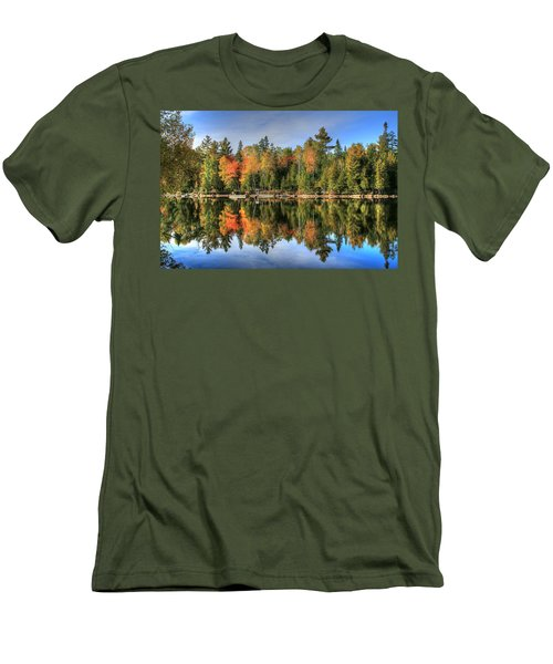 Men's T-Shirt (Slim Fit) featuring the photograph Autumn Reflections Of Maine by Shelley Neff