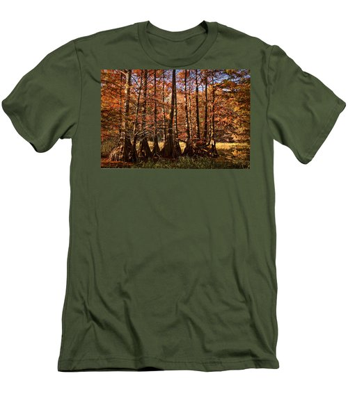 Men's T-Shirt (Slim Fit) featuring the photograph Autumn Splendor At Lake Murray by Tamyra Ayles