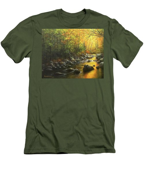 Men's T-Shirt (Slim Fit) featuring the painting Autumn Stream by Kim Lockman