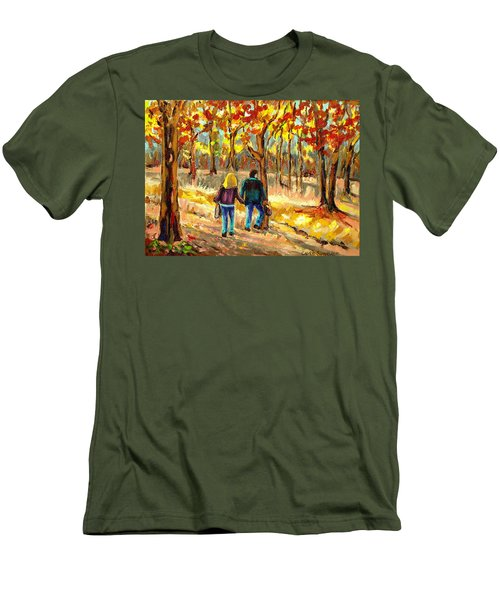 Autumn  Stroll On Mount Royal Men's T-Shirt (Athletic Fit)
