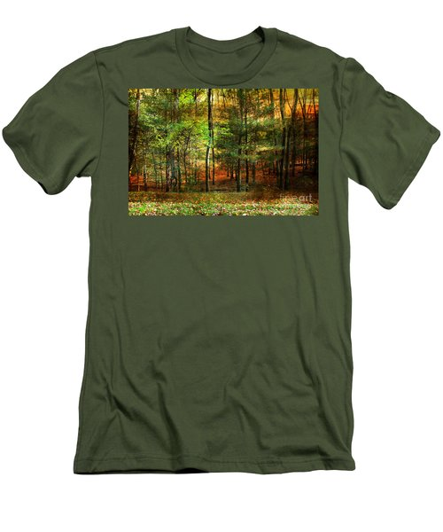 Autumn Sunset - In The Woods Men's T-Shirt (Slim Fit) by Judy Palkimas