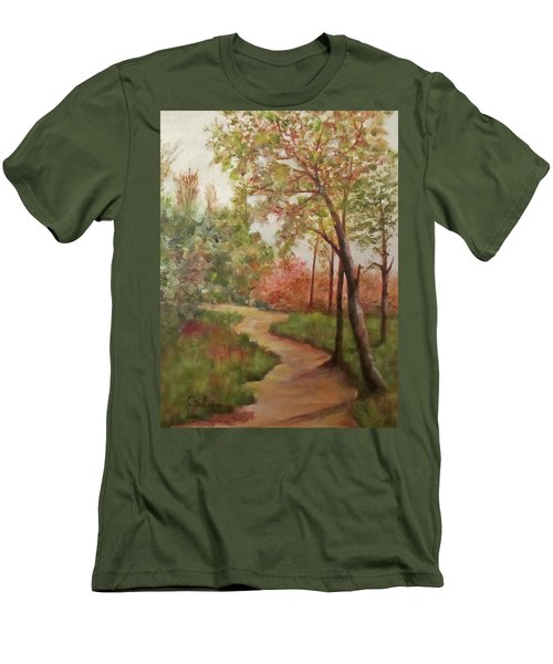 Men's T-Shirt (Slim Fit) featuring the painting Autumn Walk by Roseann Gilmore