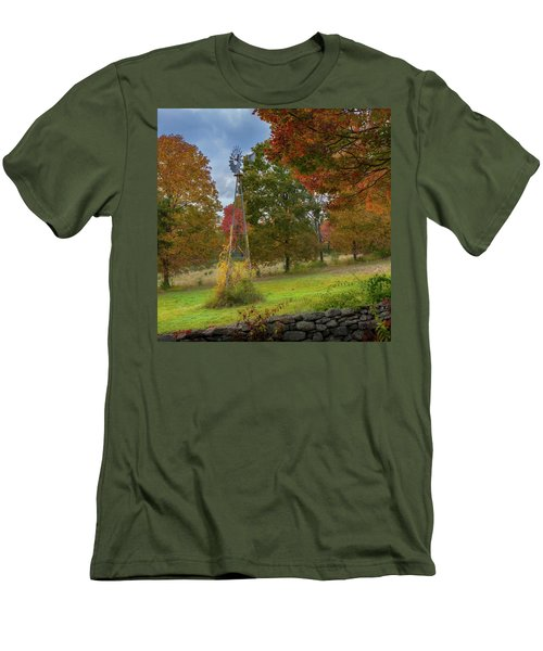 Men's T-Shirt (Slim Fit) featuring the photograph Autumn Windmill Square by Bill Wakeley