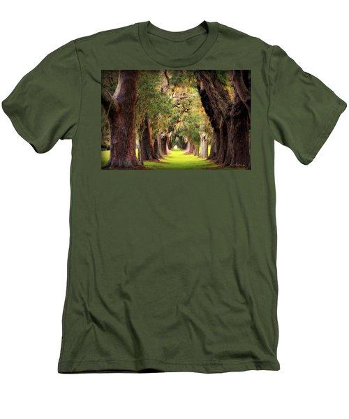 Avenue Of Oaks Sea Island Golf Club St Simons Island Georgia Art Men's T-Shirt (Slim Fit) by Reid Callaway