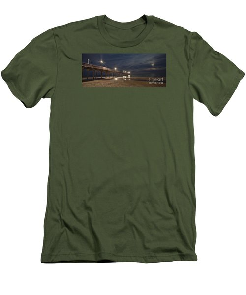 Avon Pier At Night Men's T-Shirt (Slim Fit) by Laurinda Bowling