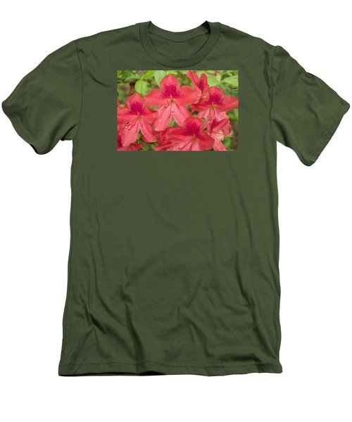 Azalea Blossoms Men's T-Shirt (Slim Fit) by Linda Geiger