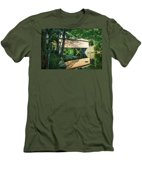 Men's T-Shirt (Athletic Fit) featuring the photograph Babb's Covered Bridge by Guy Whiteley