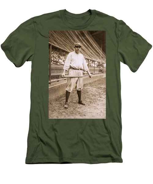 Babe Ruth On Deck Men's T-Shirt (Slim Fit) by Jon Neidert
