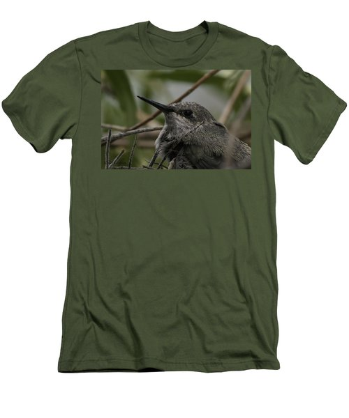 Men's T-Shirt (Slim Fit) featuring the photograph Baby Humming Bird by Lynn Geoffroy