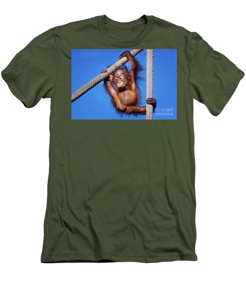 Baby Orangutan Hanging Out Men's T-Shirt (Slim Fit) by Stephanie Hayes