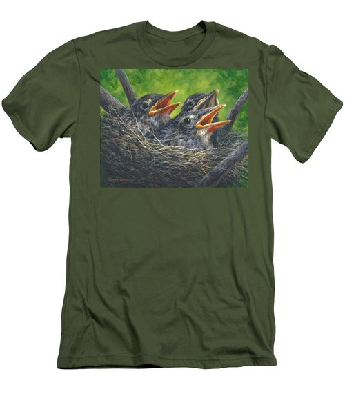 Men's T-Shirt (Slim Fit) featuring the painting Baby Robins by Kim Lockman