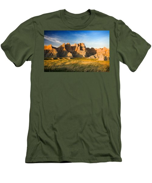 Men's T-Shirt (Athletic Fit) featuring the photograph Badlands In Late Afternoon by Rikk Flohr
