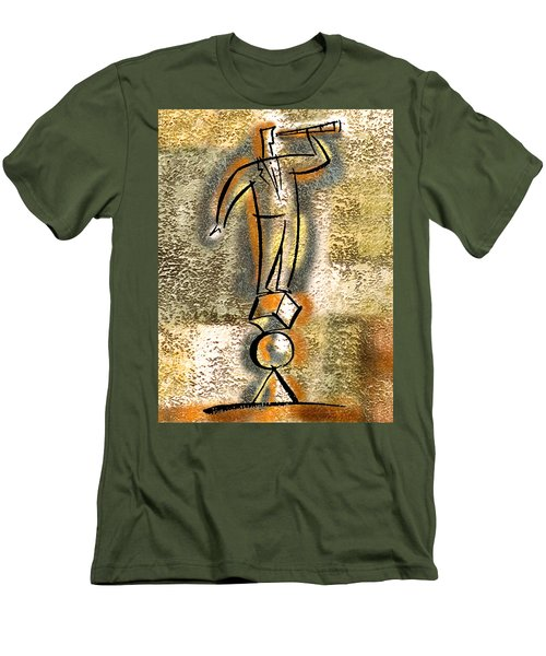 Men's T-Shirt (Slim Fit) featuring the painting Balance by Leon Zernitsky