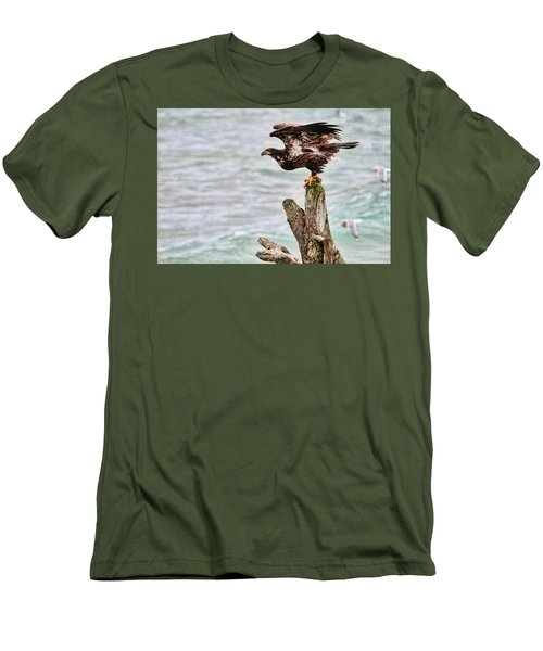 Bald Eagle On Driftwood At The Beach Men's T-Shirt (Slim Fit) by Peggy Collins