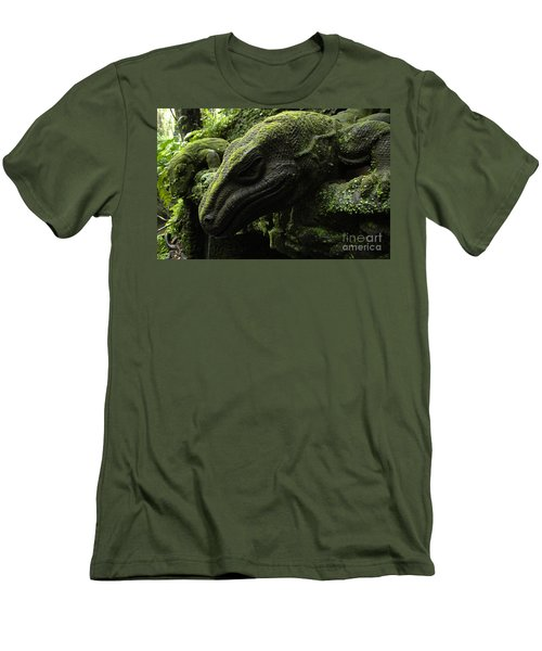 Bali Indonesia Lizard Sculpture Men's T-Shirt (Slim Fit) by Bob Christopher