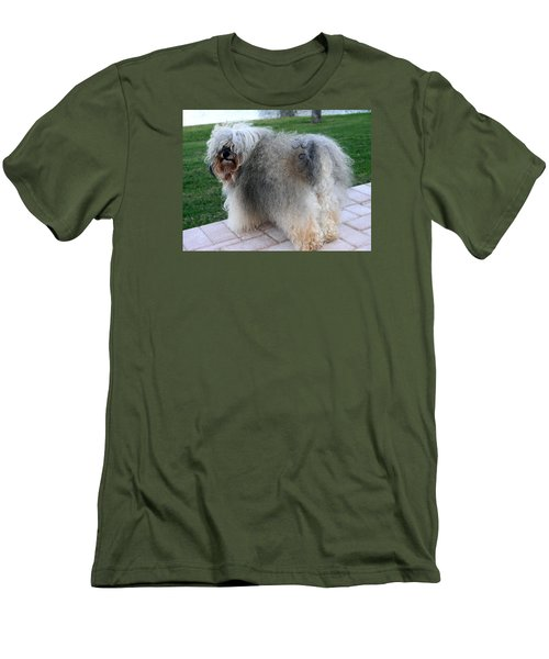 Men's T-Shirt (Slim Fit) featuring the photograph ball of fur Havanese dog by Sally Weigand